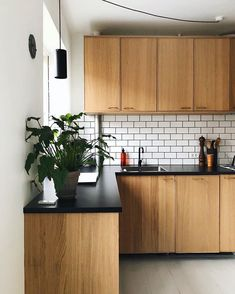 I really appreciate the warm feeling the oak kitchen gives to the room. Oak Kitchen Cabinets, Built In Cabinets, Wooden Kitchen, Ikea Kitchen, Kitchen Redo, Kitchen Interior, Kitchen Dining, Kitchen Remodel, Sofa Scandinavian