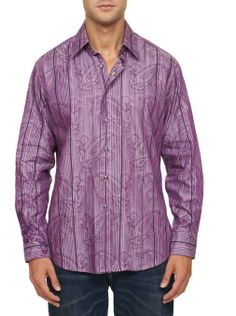 Robert Graham - RF131007. Designed in a stand out purple hue, this long sleeve sport shirt features a woven jacquard paisley pattern with sleek black stripes. Inside neckband offers a double plaid stripe design in complementary tones. Inside cuffs feature contrast double-inset designs showcasing an abstract paisley print and rich multi-color geometric embroidery. Paisley Pattern, Paisley Print, Tight Shirts, Mens Printed Shirts, Geometric Embroidery, Purple Hues, Robert Graham, Showcase Design, Stripes Design