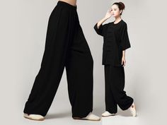 Tai Chi Pants Pure Cotton for Women Black Being a leader of Tai Chi Clothing for hundreds of years, this type of pants is famous for its cra. Kung Fu Clothing, Tai Chi Clothing, Martial Arts Shoes, Type Of Pants, What To Wear, Sportswear, Casual Outfits, Normcore, Couture