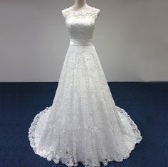 White/Ivory A-Line Lace Empire Waist Wedding Dress Bridal Ball Gown Custom Size