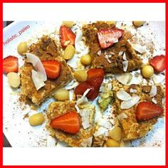Kiwi fruit, cinnamon and almond pancake topped with fresh strawberries, coconut flakes, cinnamon, macadamia nuts and maple syrup. #pancake #breakfast #foodblog #healthylife #healthychoice #eattherainbow #nutritious #healthy #healthyfoodshare #healthyfoodi