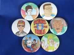 """Pinbacks 1/"""" Pins Badges One Inch Buttons Hank TV Cartoon 12 KING of the HILL"""