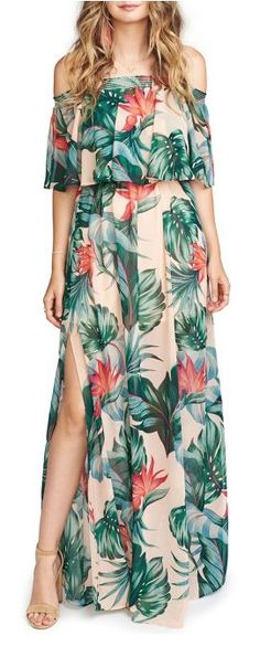 Summer Fashion Sexy Floral Printed Off The Shoulder Slit Beach Maxi Dress Luau Outfits, Tropical Outfit, Tropical Clothes, Sexy Maxi Dress, Maxi Dresses, Maxi Robes, Mode Chic, Outfit Trends, A Line Gown