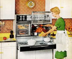 8 vintage sixties kitchens with Flair ranges: Pull-out electric stoves & glass oven doors that opened upwards - Click Americana Kitchen Retro, Vintage Kitchen, Kitchen Ideas, Kitchen Planning, Vintage Cooking, Kitchen Images, Vintage Dishes, Looks Vintage, Vintage Ads