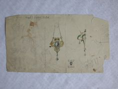 Gustav Gaudernack. Watercolour sketches for two gilt silver brooches with precious stones and pearls in art nouveau design. 1905-1910