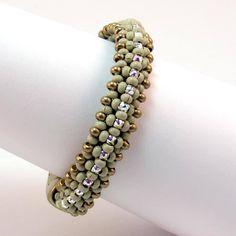 Stephano Cream and Crystal Bracelet, Metal Seed Bead Bracelet, Swarovski Crystal Bracelet, Dana Rudolph Design, Designer Bracelet by PeggyGsBaubles on Etsy