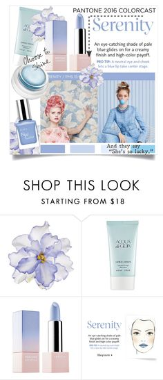 """""""Pantone Beauty: Rose Quartz and Serenity"""" by danielle-broekhuizen ❤ liked on Polyvore featuring beauty, Universal Lighting and Decor, Giorgio Armani, Sephora Collection and rms beauty"""