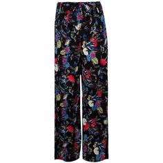 Boohoo Lua Bohemian Floral Wide Leg Trousers ($30) ❤ liked on Polyvore featuring pants, basic t shirt, wide-leg pants, elastic waist pants, boho palazzo pants and palazzo pants