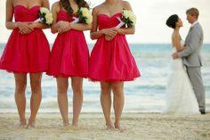 Short red bridesmaid dresses.