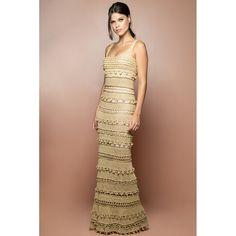 US$ 5,990.00 - Gold Monaco Crochet Long Dress - Vanessa Montoro U - vanessamontorolojausa