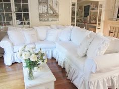 sectional sofas with ruffled skirt | Custom Slipcover - Sectional - 2 piece - 11 Cushion - White or Natural ...