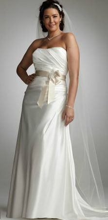 Grace your guests with sheer elegance and feel like a true princess in this strapless slim charmeuse gown. Soft charmeuse fabric and side-drape create a slimming silhouette. Wedding Dress Sash, Davids Bridal Dresses, Bridal Gowns, One Shoulder Wedding Dress, Wedding Gowns, Prom Dresses, Drape Gowns, Plus Size Gowns, Special Dresses