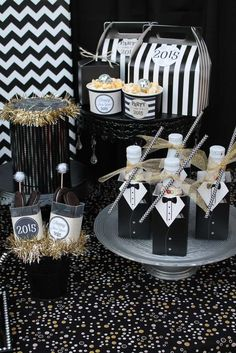 Fun treats at a New Year's party!  See more party planning ideas at CatchMyParty.com!