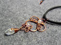 HENNA BUD copper pendant with Australia crytals -  Copper necklace - copper wire- copper jewelry - wire jewelry