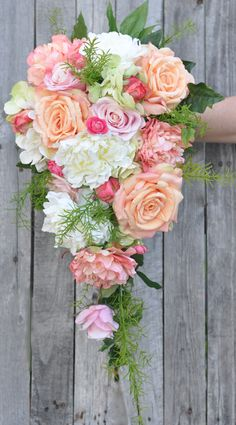Keepsake wedding 🌺 bouquets 💐 from Holly's Flower Shoppe shipping worldwide 🌎 from Etsy. Rustic Peach Wedding, Blue And Blush Wedding, Wedding Fun, Wedding Bells, Floral Wedding, Wedding Stuff, Dream Wedding, Wedding Ideas, Pastel Wedding Colors