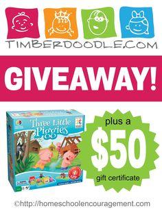 Timberdoodle Giveaway - $50 Gift Certificate plus Three Little Piggies Game! Homeschool Encouragement
