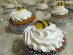 Lemon drop bumble bees on cinnamon honey butter cream...on graham cupcakes