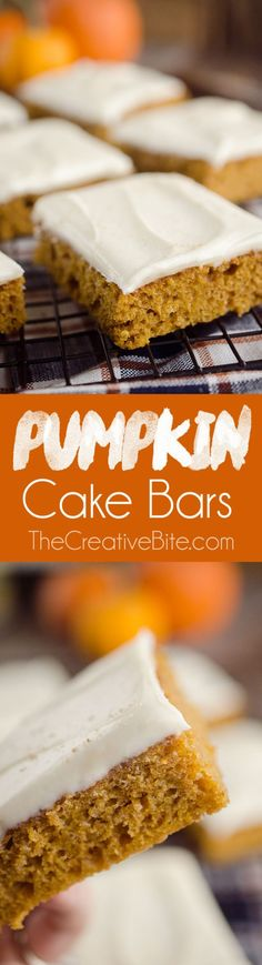 Pumpkin Cake Bars are an easy and delicious fall treat with a light and airy pumpkin spice sheet cake topped with decadent cream cheese frosting! #Pumpkin #Cake #Holiday #Dessert #Thanksgiving