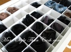Make a Socks, Briefs, or Underwear Organizers from Bristol Board Lingerie Organization, Sock Organization, Home Organization Hacks, Diy Drawer Organizer, Drawer Organisers, Housekeeping Tips, Creative Storage, Neat And Tidy, Getting Organized