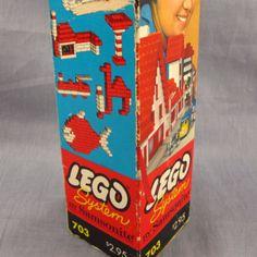 Vintage Lego System by Samsonite 703 Lot Red & White Bricks Original 1960's Box #LEGO