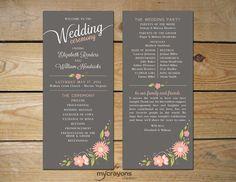Romantic Floral Printable Wedding Program // by MyCrayonsPapeterie, $40.00