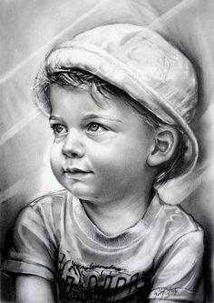 Coloring for adults - kleuren voor volwassenen Portrait Au Crayon, Pencil Portrait, Portrait Art, Amazing Drawings, Realistic Drawings, Baby Drawing, Painting & Drawing, Drawing Tips, Drawing Tutorials