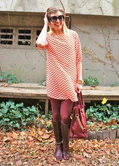 Chevron stripes and burgundy tights - The Boston Fashionista