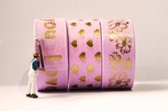 Sieh dir dieses Produkt an in meinem Etsy-Shop https://www.etsy.com/de/listing/500125626/washi-tape-gold-auf-pink-thema-liebe