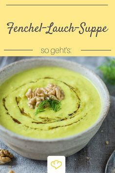 creamy fennel-leek-soup gets thanks to apple still a surprising fr . - Essen -This creamy fennel-leek-soup gets thanks to apple still a surprising fr . Raw Dessert Recipes, Raw Food Recipes, Healthy Soup Recipes, Vegetarian Recipes, Healthy Food, Good Food, Yummy Food, Leek Soup, Vegan Soups