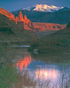 Fisher Towers & Colorado River, Utah   La Sal Mountains beyond    BLM lands Manti-La Sal National Forest    Near Moab