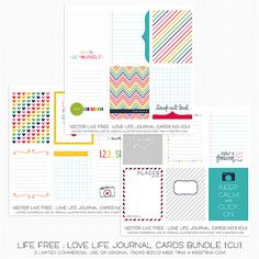 Hiya everyone! I have bunches of new goodies in my shop tonight! They are all on sale and they all match up with my Live Free : Love Life goodies! Vector It's a Date Bundle – full of nu… Project Life Freebies, Project Life Layouts, Project Life Cards, Love Journal, Journal Cards, Mixed Media Scrapbooking, Home Management Binder, Love Is Free, Printable Paper