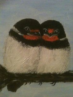 Zwaluwen geverfd op canvas