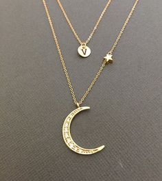 Crescent Moon Necklace Layering Necklace Hand stamped by Muse411