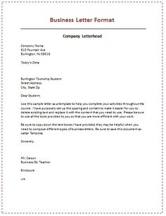 Business Letter Format HttpCalendarprintablehubComBusiness