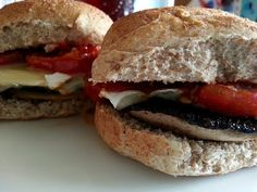Slimming World Delights: Roasted Mushroom, Balsamic Tomatoes and Goats Cheese Burgers
