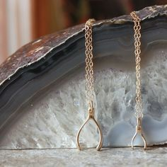 Mother Daughter Necklace Set  Gold Wishbone Pendant by sevgicharms, $49.00