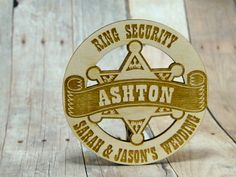 Custom Ring Security Badge - Cute Ring Bearer Gift - Great Personalized Name Present for Rustic Wedding - Laser Cut Wood Sheriff Badge