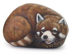 Red panda - acrylic on rock by Roberto Rizzo | www.robertorizzo.com