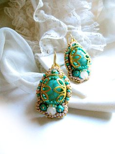 Bead embroidered earrings with turquoise and rose by MadameElegant, $46.00