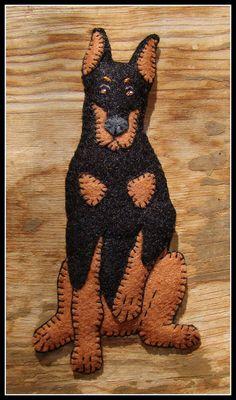 Doberman Pincer Ornament-slash-Magnet-Handmade felt dog gift-original design
