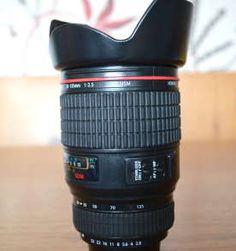 Copo / caneca em formato de lente de câmera fotográfica