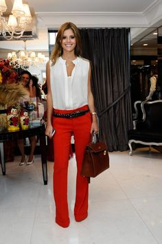 sleeveless blouse + red pants - NC State outfit!