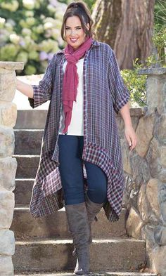 WINNIE REVERSIBLE DUSTER / MiB Plus Size Fashion for Women / Winter Plaid
