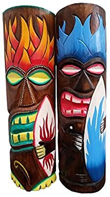 All Seas Imports Set of Two Wooden Handcarved Tall Tiki Masks Hawaiian Beach Style with Surf Boards! Totem Pole Art, Tiki Totem, Tiki Faces, Tiki Mask, 50th Birthday Party, Wood Carving, Cool Gifts, Surfboard, Port Isabel