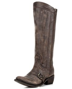 You'll obsess over the Allyson's distressed coffee leather by Independent Boot Company. Tastefully spaced studs and a harness over the foot are details that craft a classic look. A full-length zipper guarantees effortless on and off. Finally, an angled collar and clean lines create an unforgettable silhouette.