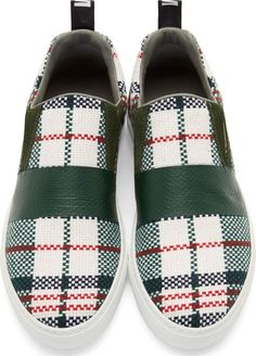 MSGM Green Woven Plaid Slip-On Shoes
