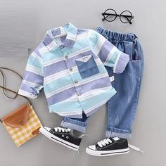 Stylish Baby / Toddler Striped Shirt and Jeans Set Baby Outfits Newborn, Baby Boy Newborn, Baby Boy Outfits, Kids Outfits, Baby Boy Fashion, Fashion Kids, Baby Boy Clothing Sets, Baby Boys Clothes, Stylish Boy Clothes