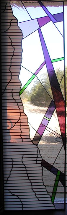 Abstract stained glass door panel