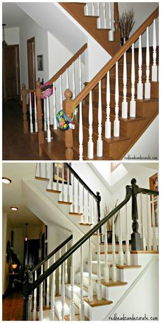 DIY Painted Staircase (including paint colors) Yes! This is what my staircase needs! Painted Staircases, Staircase Makeover, Stair Railing, Railings, Black Railing, Railing Ideas, Staircase Design, Staircase Diy, White Staircase