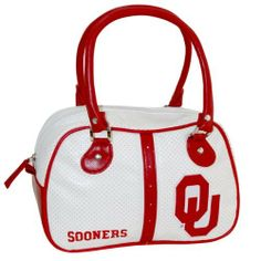 NCAA Oklahoma Sooners Ethel Handbag by Concept 1. $25.00. Durable handles. Quality nylon zippers. Lined interior and printed team logo. Retro inspired handbag. Sport inspired and perforated pvc fabric. The bowler is a retro-inspired handbag that gives women a chic yet casual look while sporting their favorite collegiate team.